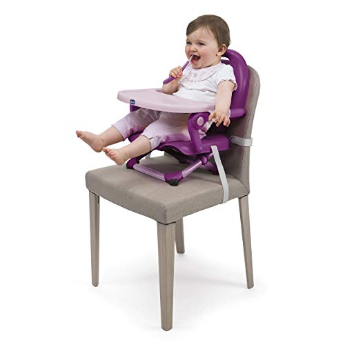 Chicco Pocket Snack Toddler Booster Seat Dining Chair for Children 6 Months to 3 Years (15 kg), Portable and Adjustable Baby High Chair with Compact Closure and Removable Tray - Purple
