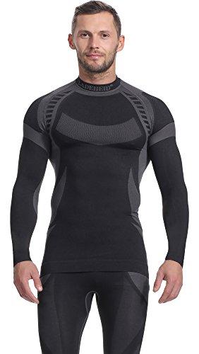 Ladeheid Herren Funktionsunterwäsche Langarm Shirt Thermoaktiv (Schwarz/Grau, XL)
