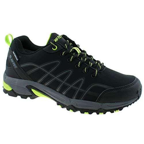 Mens HI-TEC Corvus Low Waterproof Multi Sport Walking Shoes Black/Limoncello UK7 EU41