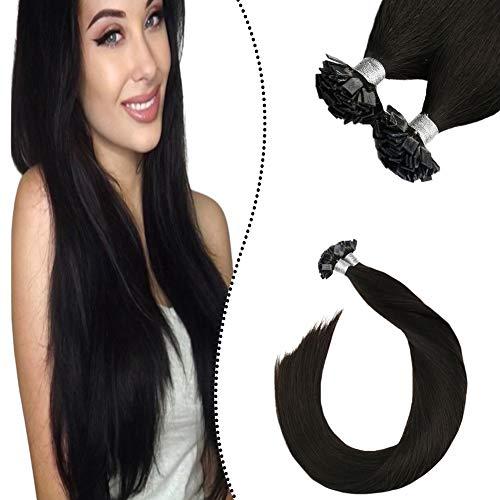 Ugeat Flat Tip Bondings Echthaar mit Keratin 40cm Remy Haarverlangerung Fusion Glue Sticks Extension 100% Brasilianische Haare Naturliches Schwarz 50 Strahnen 50 Gramm