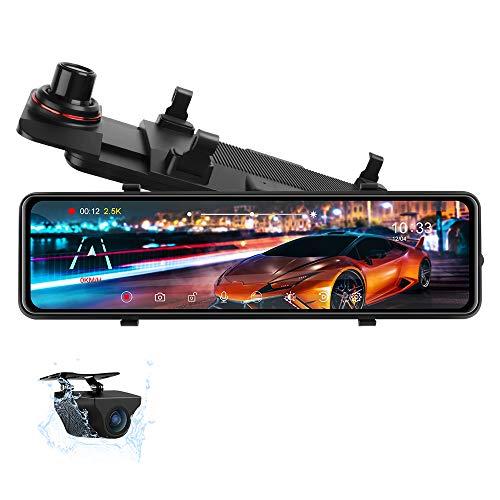 Dash cam speculare da 10,88  , 2.5k Full Touch Screen Specchio Dash Cam Visione notturna Telecamera di backup impermeabile Telecamera per specchietto retrovisore per auto con assistenza al parcheggio