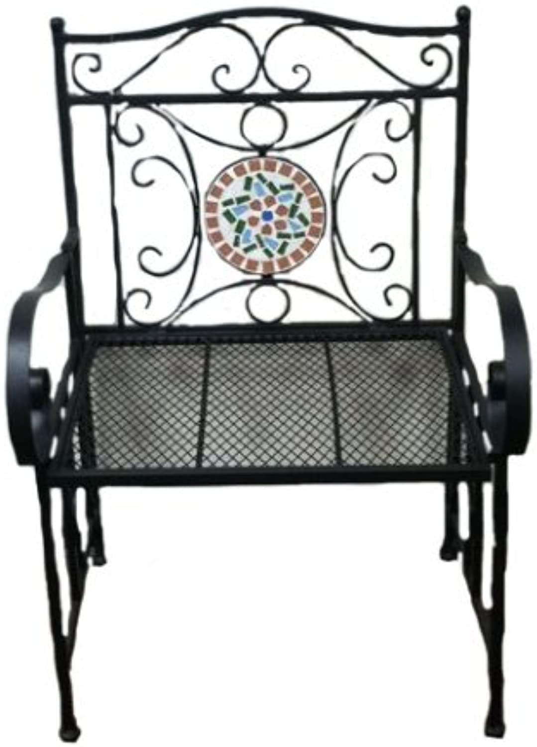 Essential Decor Entrada Collection EN2180 Metal Chair with Mosaic Pattern, 24.2 by 18.1 by 36.8-Inch