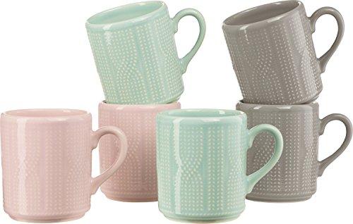 Gepolana Kaffeebecher - Kaffeetasse - Teetasse - Teebecher - Becherset - Tassenset - für 6 Personen - 6er-Pack - Keramik - spülmaschinenfest - mikrowellengeeignet