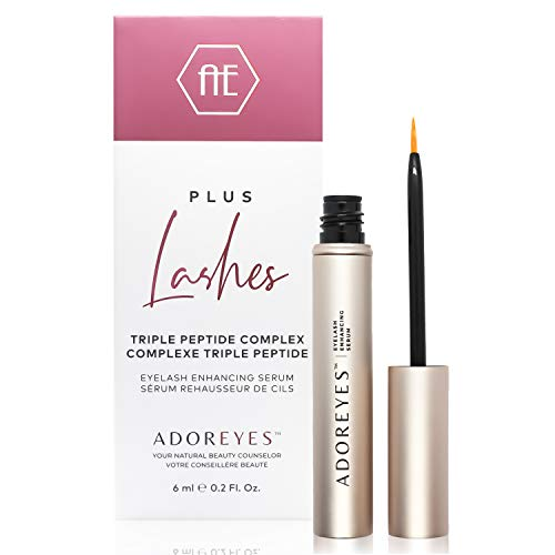 ADOREYES Plus Lashes Eyelashes Growth Serum with Triple Peptide Growth Complex for Longer, Thicker and Fuller Lashes - Made in Canada - 0.21 Fl. Oz.