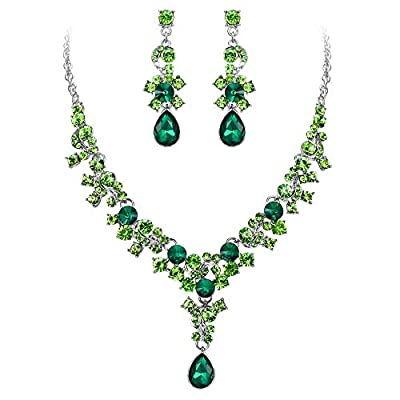 EVER FAITH Women's Crystal Bridal Banquet Flower Waterdrop Necklace Earrings Set Green Silver-Tone