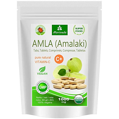 Amla-tabletten 1000 mg (60 of 180 compacts) Vitaminebom - 100% natuurlijk product met vitamine C, chroom, mineralen, eiwitten en B-vitamines. Immuunsysteem, antioxidant (1x60 compacts)