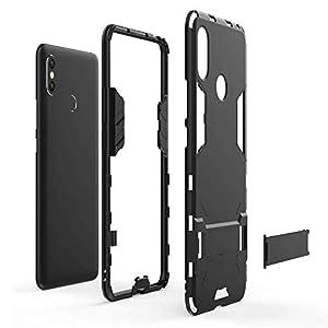 CHcase Xiaomi Mi MAX 3 Funda, 2in1 Armadura Combinación A Prueba de Choques Heavy Duty Escudo Cáscara Dura PC + Suave TPU Silicona Rubber Case Cover con Soporte para Xiaomi Mi MAX 3 -Red