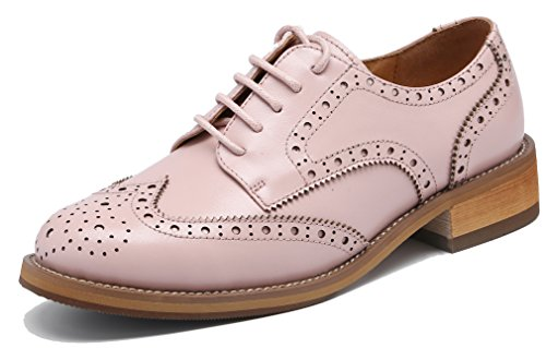 U-lite Women's Perforated Lace-up Wingtip Leather Flat Oxfords Vintage Oxford Shoes Brogues (9, Pink)