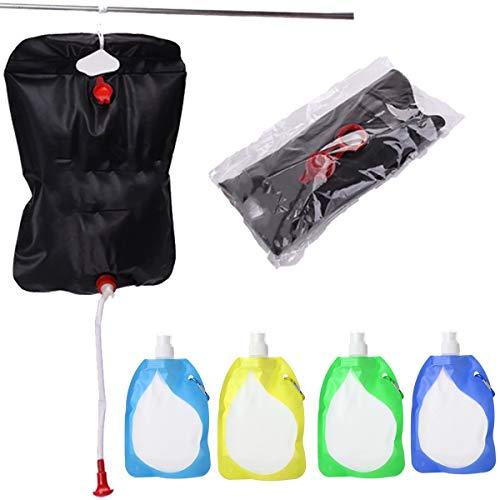 dancepandas Bolsa de Ducha Solar 5PCS Bolsa de Ducha de Camping Agua Caliente Caravana Solar Shower Bag para Acampar en Verano Viajes de Senderismo al Aire Libre