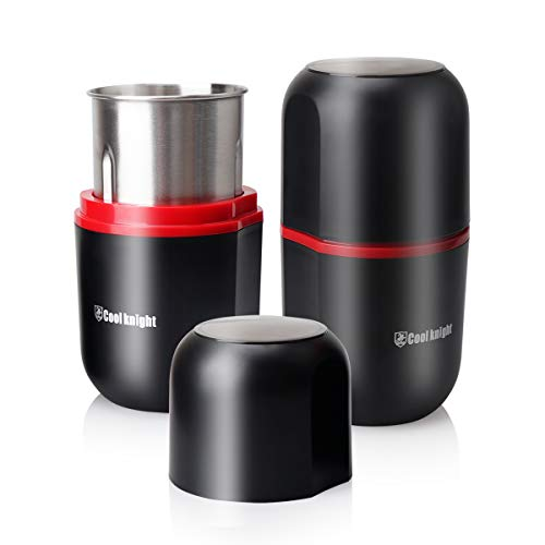 """COOL KNIGHT Herb Grinder [large capacity/fast/Electric ]-Spice Herb Grinder with Pollen Catcher/- 7.5"""" Black stainless steel"""