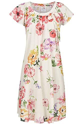 La plus belle Damen Nachthemd mit Blumendessin Off-White 36 0286012, Off-White, 36
