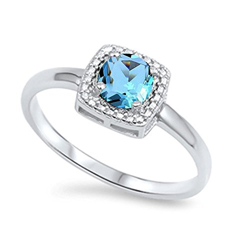 Oxford Diamond Co Round Simulated Aquamarine Halo & Cz .925 Sterling Silver Ring Size 5