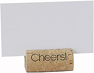 EMazing Goods Wine Cork Place Card Holders Custom Cork Card Holders Cheers Set of 25 Includes Place Cards Escort Card Rustic Wine Cork Table Décor Wine Theme Vineyard Wedding Cork Placecard