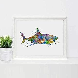 watercolor shark painting