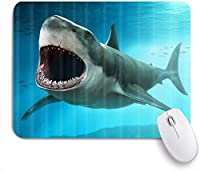 VAMIX マウスパッド 個性的 おしゃれ 柔軟 かわいい ゴム製裏面 ゲーミングマウスパッド PC ノートパソコン オフィス用 デスクマット 滑り止め 耐久性が良い おもしろいパターン (深海のサメホオジロザメ海洋生物)