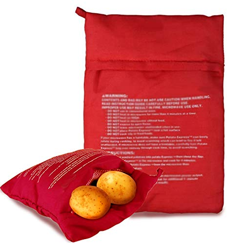 5 Piezas Patatas Microondas Bolsa,Bolsas Cocinar Patatas Para Microondas Cocer Patatas En Microondas Tortillas Bolsa De Cocina Perfecto Patatas Sólo En 4 Minutos (24X19cm, Rojo)