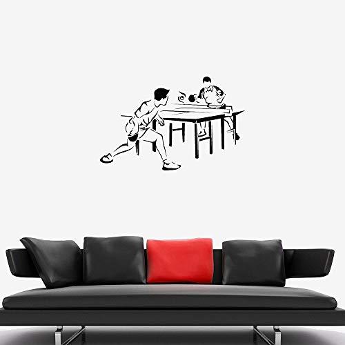 N / A Sin Marco Tenis de Mesa Tatuajes de Pared Juego de Pelota Competición Deportiva Jugadores Arte Vinilo Ventana Pegatinas Dormitorio Juvenil Estadio Decoración Interior-4