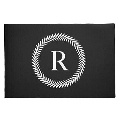 Zwart Wit Gepersonaliseerde Initiële Welkom Deurmatten Stijlvolle Aangepaste Monogram Vloermatten Tapijt Modern Home Decor