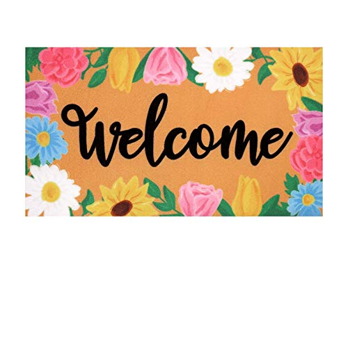 Welcome Doormat - 17.71 x 29.52inch Natural Coir Indoor Outdoor Front Door Rug with Non Slip Rubber Backing - Spring Decoration ,Mat for Entry Way, Porch, Garage (B)