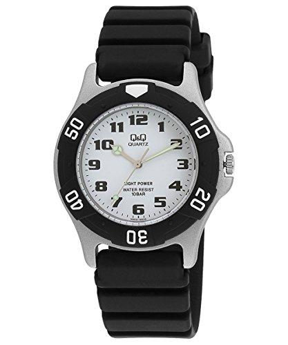 [シチズン Q&Q] 腕時計 アナログ ソーラー 防水 ウレタンベルト 白 文字盤 SOLARMATE (ソーラーメイト) H950J003 メンズ ブラック
