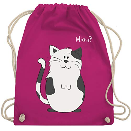 Shirtracer Tiermotive Kind - lustige Katze - Unisize - Fuchsia - sportbeutel katze - WM110 - Turnbeutel und Stoffbeutel aus Baumwolle