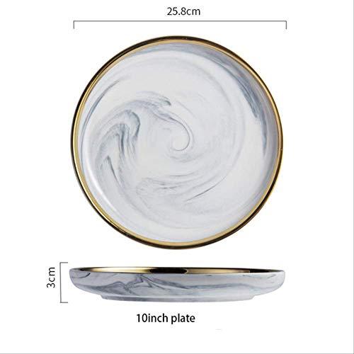 JHFIHOJ Geschirr Dinner Dish Plate Party Tableware Set Porcelain Breakfast Plates Rice Salad Noodles Soup Bowl Dinnerware Set 10 inch Dish Plate