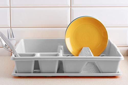DISH DRAINER WITH DRAINER TRAY PLASTIC GREY SINK PLATE RACK -Grey / SLIVER by 7th-AVE