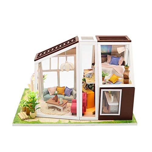 Puppenhaus Miniatur Mit Möbeln, Idee DIY Hölzernes Puppenhaus Kit Mini Dollhouse Hand-Assembled Haus Mit LED Licht, Miniatur 3D Gewächshaus Bastelset Für Kinder Geburtstag Geschenk