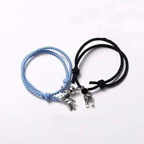 ANGYANG Woven Bracelet,2Pcs Astronaut Magnet Pendant Blue Black Adjustable Charm Bracelets Elastic Rope Friendship Fashion Gift For Boy Girl Couples Men Women