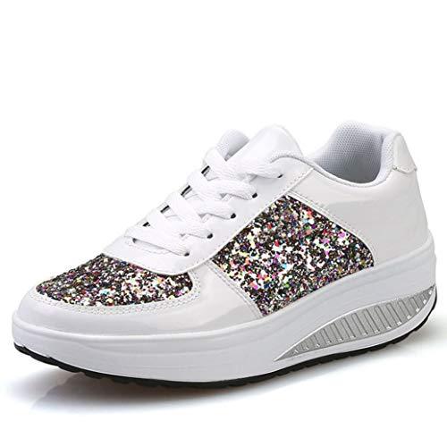 Frauen Pailletten Schnüren Turnschuhe Plattform Keile Mode Schaukel Schuhe Casual...