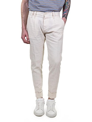 officina 36 Pantaloni in Tessuto Morbido con Pinces Uomo, Collezione PE 2018, Art 2276TP SERMANO (44, Panna)