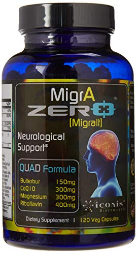Migraine Relief, Quad-Formula with PA-Free Butterbur (150mg), CoQ10 (300mg), Magnesium Glycinate (300mg), High-Dose Riboflavin (400mg) - MigrA Zero (120 Caps) Optimal Dosing for Migraine Sufferers