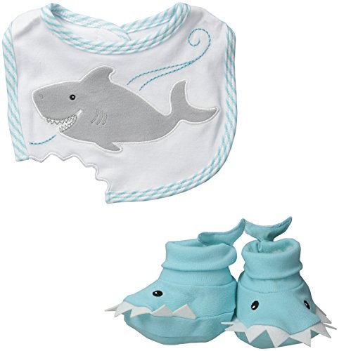Baby Aspen Bib and Booties Gift Set , Chomp and Stomp Shark , 0-9 Month