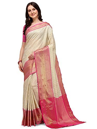 AMAZON BRAND – ANARVA Women's Banarasi Silk Weaved Saree with Un-Stitched Blouse Piece Heavy Pallu Kachipuram Sadi For Home Festival Wedding Party – White