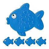 Relaxdays Adesivi per Vasca da Bagno a Pesciolino, Set 5 Sticker Antiscivolo con Ventose, Accessori per Bambini, Blu, PVC, pz