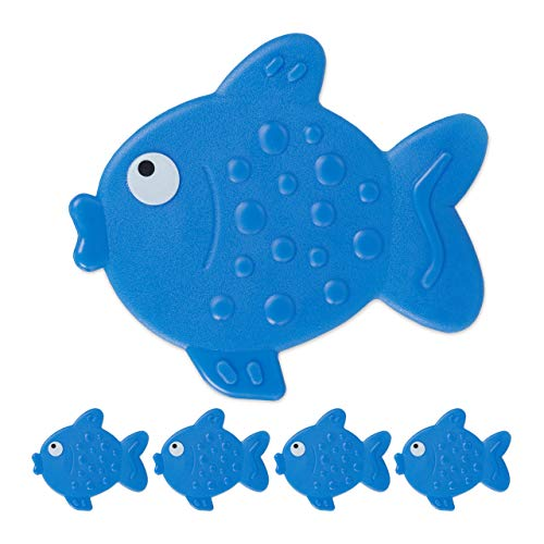 Relaxdays Antirutsch Sticker Badewanne, 5er Set, Fisch-Design, Badewannenaufkleber mit Saugnäpfen, für Kinder, blau