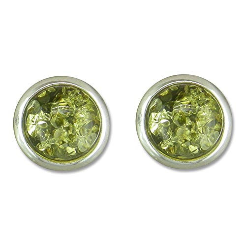 925 Sterling Silver 8mm Round Green Amber Stud Earrings