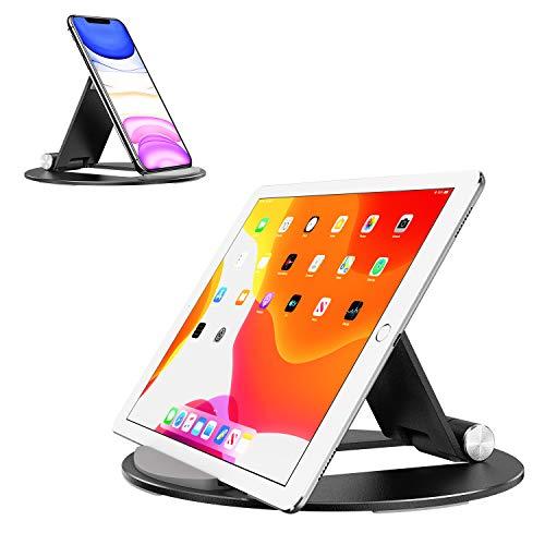 OMOTON Tablet Ständer Tragbare, Universal Halterung für ipad 2020 iPad 9.7/10.2/10.5, iPad Pro/Air/Mini, Verstellbarer Halter aus Alu-Legierung für alle Tab/Kindle/eReader in 4-10.5 Zoll, Schwarz