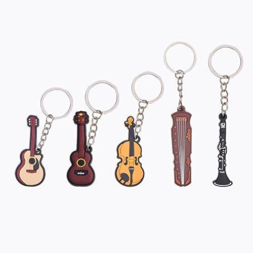 wandic Creative Bright Farbe Musikinstrument Schlüsselanhänger Ring Figur für Geschenk Dekoration 5PCS 5 Style
