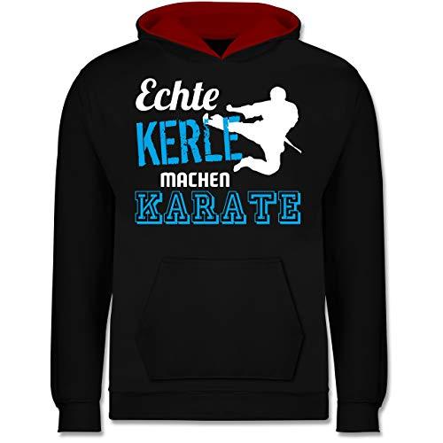 Sport Kind - Echte Kerle Machen Karate - 152 (12/13 Jahre) - Schwarz/Rot - JH003K_Kinder_Kontrast_Hoodie - JH003K - Kinder Kontrast Hoodie