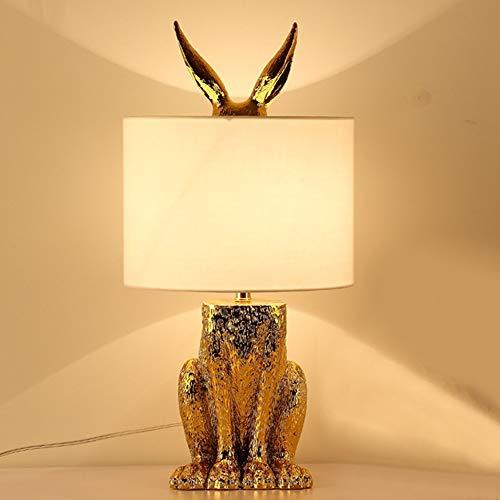 Stella Fella Oro Creativo Nordic Tabla Moderno Dormitorio de la lámpara de cabecera de Pantalla de la lámpara de la Sala del Hotel Proyecto de Decoración Conejo lámpara de Mesa 24 * 49 (cm)