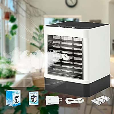 Portable Air Conditioner Fan, TUNFOU Personal Space Mini Evaporative Air Cooler, Upgraded Filter and Water Tank, Humidifier Spray Fan, 3 Wind Speed Modes, Suitable for Home, Office, Room.