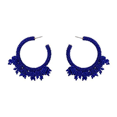 Hogreat Pendientes colgantes de perlas de arroz geométricas europeas y americanas exageradas retro temperamento arroz pendientes pendientes joyas bohemias con pendientes de mujer (Color: Azul)
