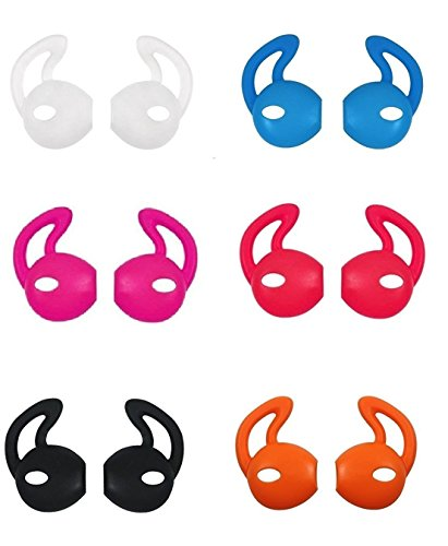 Ear Hooks Gel Covers for Earphones Headphones Earbuds Earpods Soft Anti-Slip 12 Pieces Ear Tips (Black, White, Red, Orange, Clear, Blue, Hot Pink)