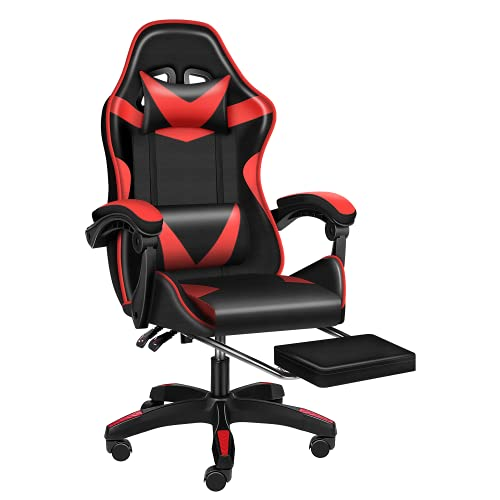 YSSOA Gaming Office High Back Computer Leather Desk Mesh Ergonomic 180 Degrees Adjustable Swivel Task Chair with Headrest and Lumbar Support, Red