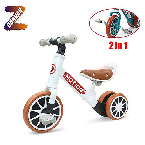 ZUOQUAN 2 in 1 Kinder Laufrad, Lauflernrad Balance Fahrrad Ohne Pedale Dreirad Spielzeug, Erstes Baby Laufrad Für Jungen Mädchen, Empfohlenes Alter: 12-48 Monate, Lauflernrad 4 Rädern,Weiß