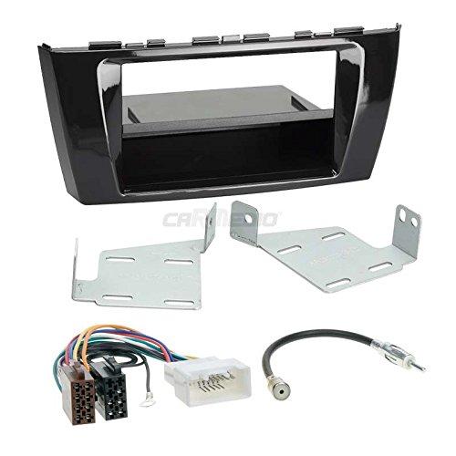 Carmedio Mitsubishi Space Star ab 13 1-DIN Autoradio Einbauset in original Plug&Play Qualität mit Antennenadapter Radioanschlusskabel Zubehör und Radioblende Einbaurahmen Hochglanz-schwarz