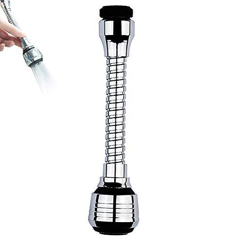 Grifo aireador de grifo con cabezal de pulverización, dispositivo de ampliación, 360 grados, flexible, cabezal de pulverización, color plateado