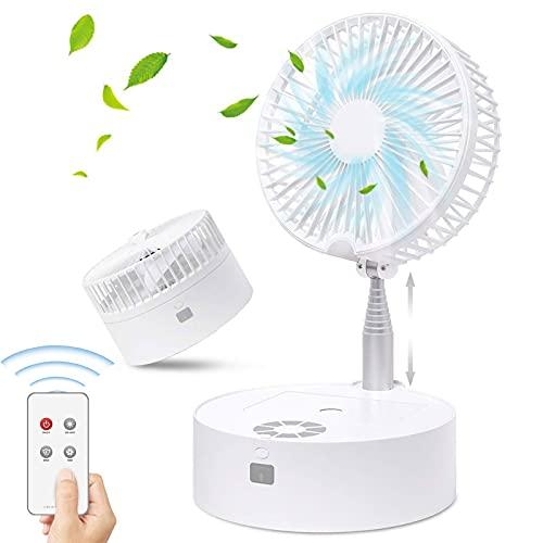 GRTBNH Ventilador Plegable TelescóPico, Ventilador de Mesa y Escritorio a Pilas con 3 Velocidades Viento, Luz Nocturna/Control Remoto/Recargable USB, Mini Ventilador PortáTil para Oficina Casa