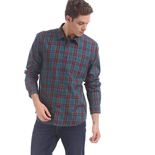 Arvind Men Navy and Maroon Long Sleeve Check Pure Cotton Casual Shirt